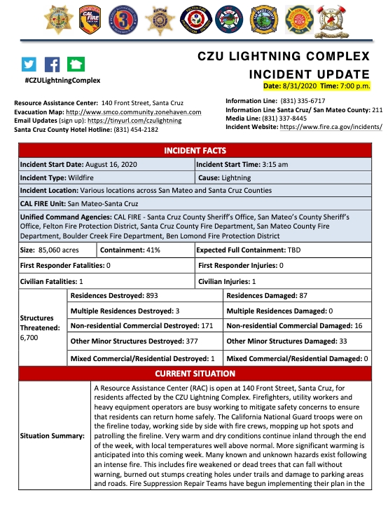 INCIDENT UPDATE: CZU LIGHTNING COMPLEX, AUG 31, 2020, 7PM