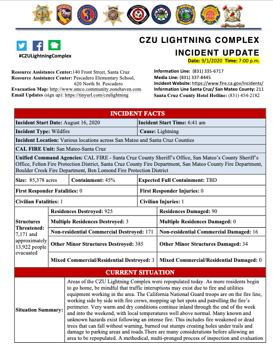 INCIDENT UPDATE: CZU LIGHTNING COMPLEX, SEPT 1, 2020, 7PM