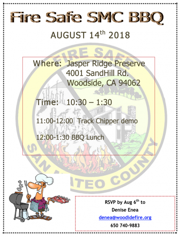 Fire Safe Annual BBQ, Wed., 8/14, Please RSVP