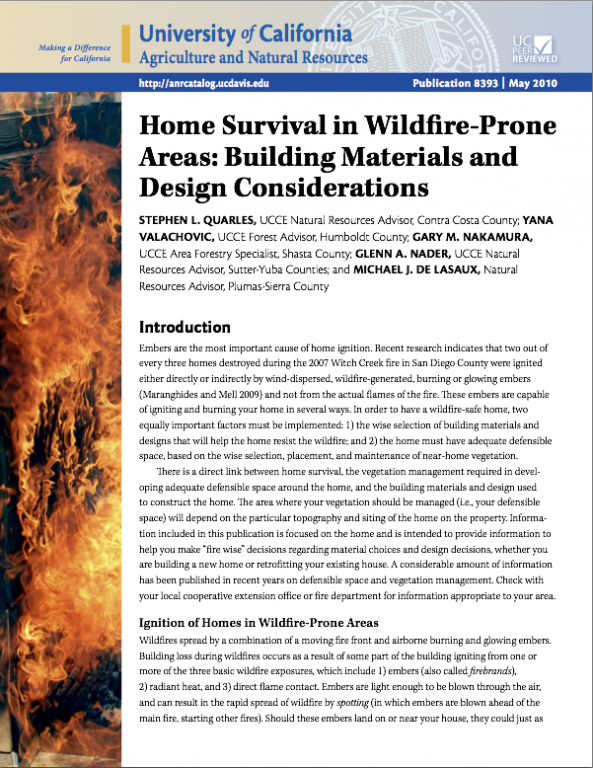 Home Survival in Wildfire-Prone Areas: Building Materials and Design Considerations